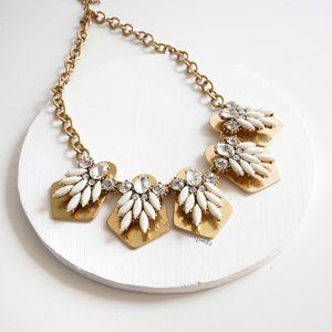 J.Crew Gold Stone Statement Necklace